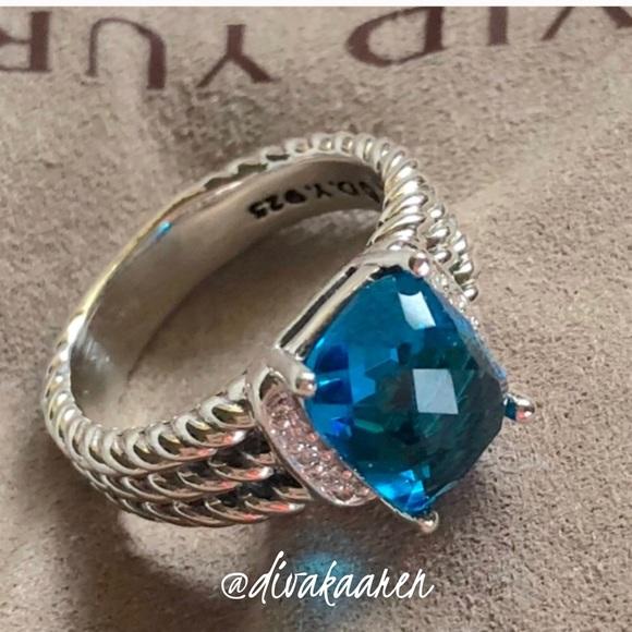 604402f7e56dd David Yurman Petite Wheaton Blue Topaz & Diamonds